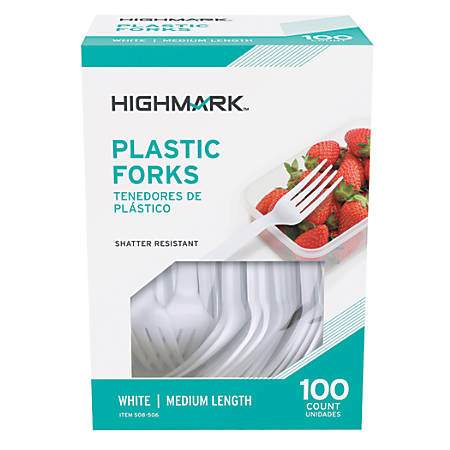 Highmark® Medium-Length Plastic Cutlery, Forks, Pack Of 100 Forks