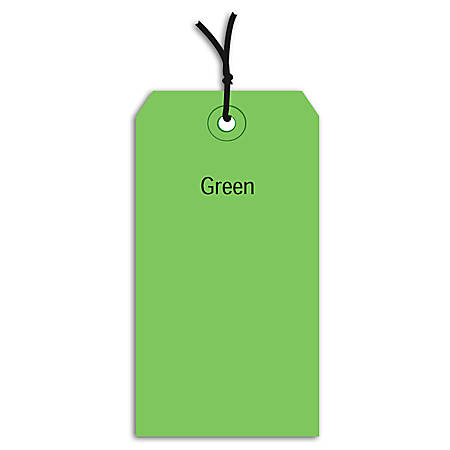 "Office Depot® Brand Prestrung Color Shipping Tags, #7, 5 3/4"" x 2 7/8"", Green, Box Of 1,000"