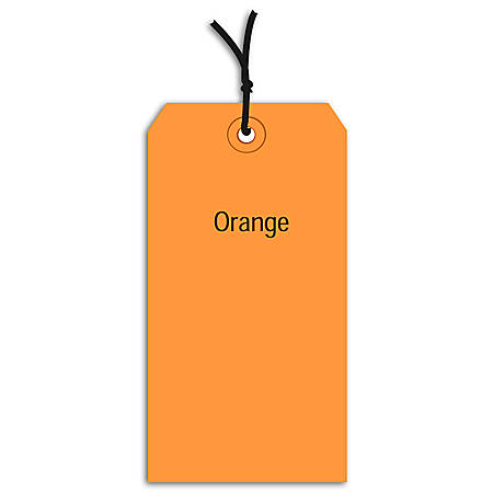 "Office Depot® Brand Prestrung Color Shipping Tags, #7, 5 3/4"" x 2 7/8"", Orange, Box Of 1,000"