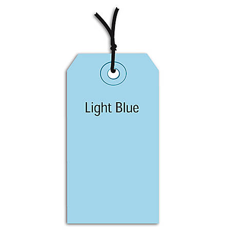"""Office Depot® Brand Prestrung Color Shipping Tags, #8, 6 1/4"""" x 3 1/8"""", Light Blue, Box Of 1,000"""
