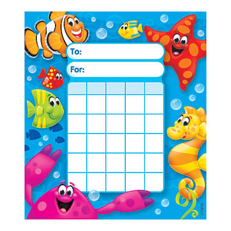 """TREND Incentive Pad, Sea Buddies, 5 1/4"""" x 6"""", Assorted Colors, Pad Of 36 Charts"""