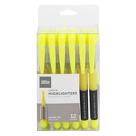 Office Depot® Liquid Ink Highlighters With Chisel Tips, Yellow, Pack Of 12