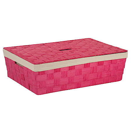 """Honey-Can-Do Large Paper Rope Basket With Liner, 23 1/2"""" x 15 3/4"""" x 6 1/2"""", Pink"""