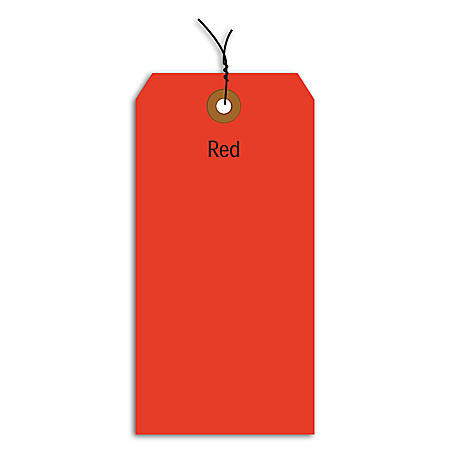 """Office Depot® Brand Fluorescent Prewired Shipping Tags, #1, 2 3/4"""" x 1 3/8"""", Red, Box Of 1,000"""