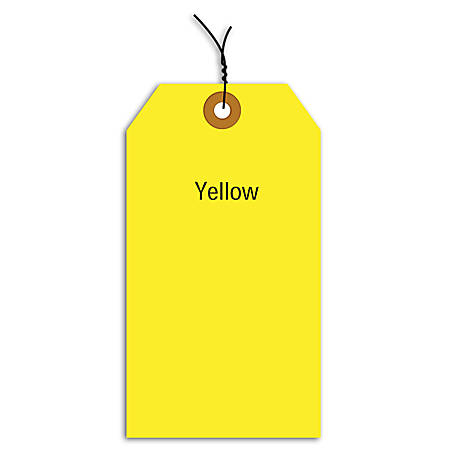 """Office Depot® Brand Fluorescent Prewired Shipping Tags, #3, 3 3/4"""" x 1 7/8"""", Yellow, Box Of 1,000"""