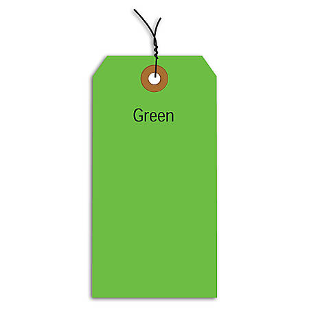 """Office Depot® Brand Fluorescent Prewired Shipping Tags, #3, 3 3/4"""" x 1 7/8"""", Green, Box Of 1,000"""