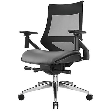 WorkPro® 1500 Series Bonded Leather Mid-Back Multifunction Chair, Black/Gray
