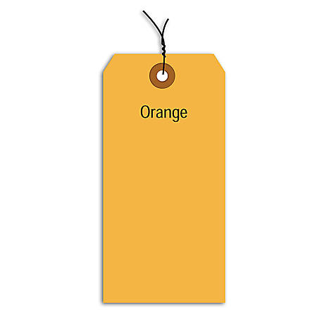"Office Depot® Brand Fluorescent Prewired Shipping Tags, #4, 4 1/4"" x 2 1/8"", Orange, Box Of 1,000"