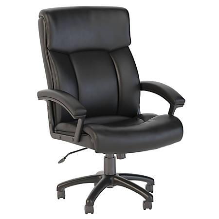 Bush Business Furniture Stanton Plus High Back Leather Office Chair, Black, Premium Installation