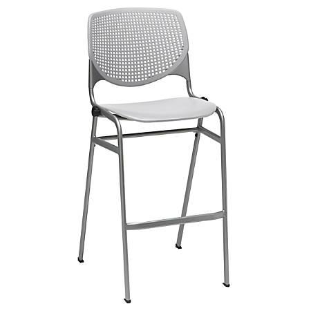 KFI Studios KOOL Stacking Chair, Light Gray/Silver