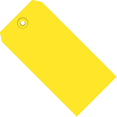 """Color Shipping Tags, #6, 5 1/4"""" x 2 5/8"""", Yellow, Box Of 1,000"""