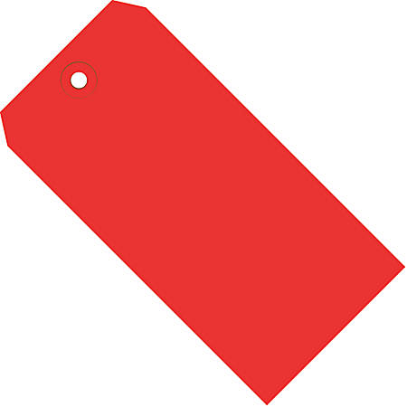 """Office Depot® Brand Color Shipping Tags, #6, 5 1/4"""" x 2 5/8"""", Red, Box Of 1,000"""