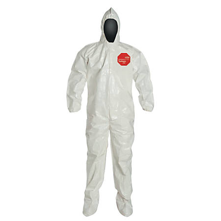 DuPont Tychem SL Coveralls With Attached Hood And Socks, 2X, White, Case Of 12 Coveralls