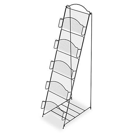 "Safco® Onyx 5-Pocket Steel Literature Floor Rack, 46"" x 18 1/2"" x 12 1/2"", Black"