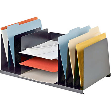 "MMF Letter Size Desk Organizer - 9 Compartment(s) - 8.8"" Height x 21.5"" Width x 11"" Depth - Desktop - Recycled - Black - Steel - 1Each"