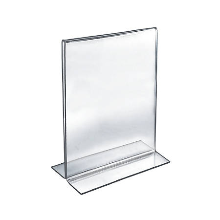 """Azar Displays Double-Foot Acrylic Sign Holders, 12"""" x 9"""", Clear, Pack Of 10"""