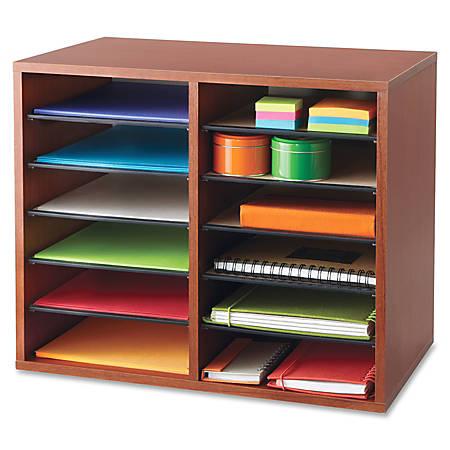 "Safco® Adjustable Literature Organizer, 9"" x 11 1/2"" x 2 3/8"", Cherry"
