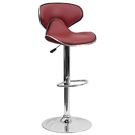 Flash Furniture Cozy Mid-Back Adjustable Bar Stool, Gray/Burgundy