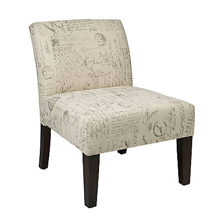 Ave Six Laguna Accent Chair, Script/Dark Espresso