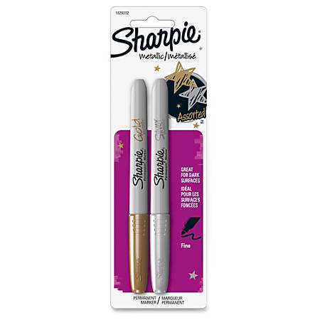 Sharpie Metallic Permanent Markers - Fine Marker Point - Gold, Silver Alcohol Based Ink - 2 / Set