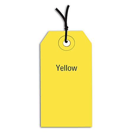 "Office Depot® Brand Prestrung Color Shipping Tags, #3, 3 3/4"" x 1 7/8"", Yellow, Box Of 1,000"