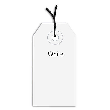 "Office Depot® Brand Prestrung Color Shipping Tags, #3, 3 3/4"" x 1 7/8"", White, Box Of 1,000"