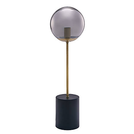 "Southern Enterprises Donmar Table Lamp, 20""H, Smoked Gray Shade/Black And Antique Brass Base"