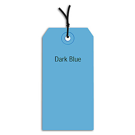 """Office Depot® Brand Prestrung Color Shipping Tags, #4, 4 1/4"""" x 2 1/8"""", Dark Blue, Box Of 1,000"""
