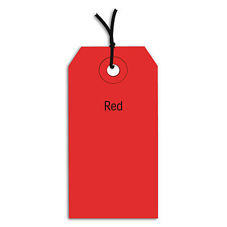 "Office Depot® Brand Prestrung Color Shipping Tags, #4, 4 1/4"" x 2 1/8"", Red, Box Of 1,000"