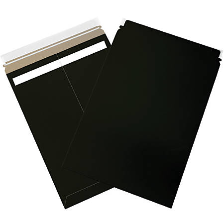 "Office Depot® Brand Self-Seal Flat Mailers, 13"" x 18"", Black, Case Of 100"