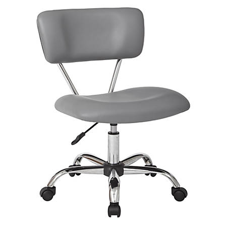 Office Star™ Avenue Six® Vista Task Chair, Faux Leather, Gray/Silver