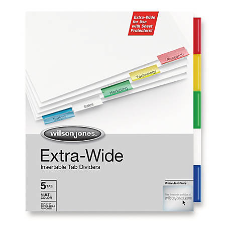 Wilson Jones® Extra-Wide™ Insertable Indexes, 5-Tab, Multicolor