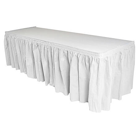 "Genuine Joe Linen-Like Pleated Table Skirts, 14"" x 29"", White"