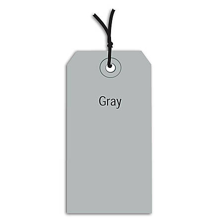 "Office Depot® Brand Prestrung Color Shipping Tags, #5, 4 3/4"" x 2 3/8"", Gray, Box Of 1,000"