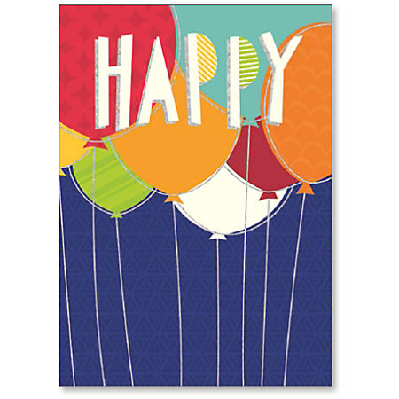 "Viabella Birthday Greeting Card With Envelope, Happy Balloons, 5"" x 7"""