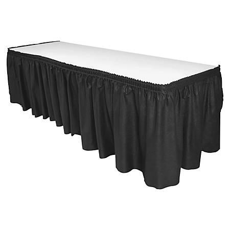 """Genuine Joe Linen-Like Pleated Table Skirts, 14"""" x 29"""", Black"""