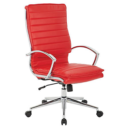 Office Star™ Pro-Line II™ SPX Series Bonded Leather High-Back Chair, Red/Chrome