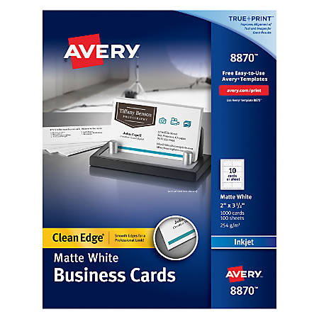 """Avery® Inkjet Clean-Edge® Two-Side Printable Business Cards, 2-Sided, 2"""" x 3 1/2"""", White Matte, Pack Of 1,000"""