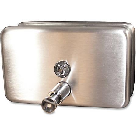 Genuine Joe Stainless 40oz Soap Dispenser - Manual - 1.25 quart Capacity - Stainless Steel - 1Each