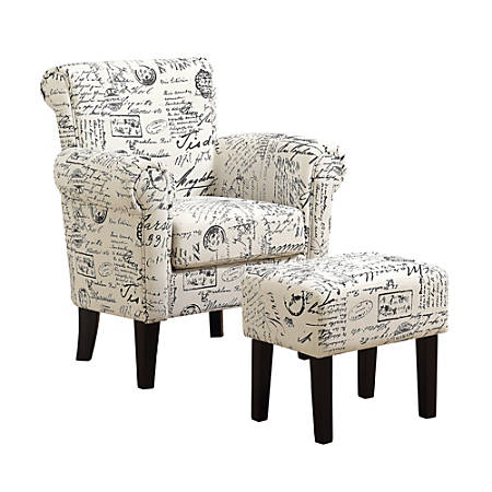 Pleasant Monarch Specialties Vintage French Fabric Accent Chair And Ottoman Set Off White Black Item 5107398 Inzonedesignstudio Interior Chair Design Inzonedesignstudiocom