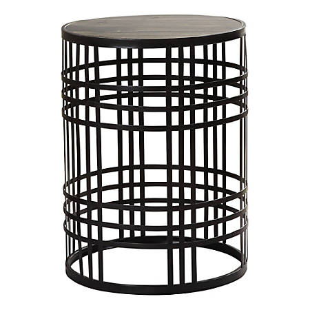 """FirsTime & Co. Industrial Weave Metal Table, 22""""H x 16-1/2""""W x 16-1/2""""D, Espresso"""