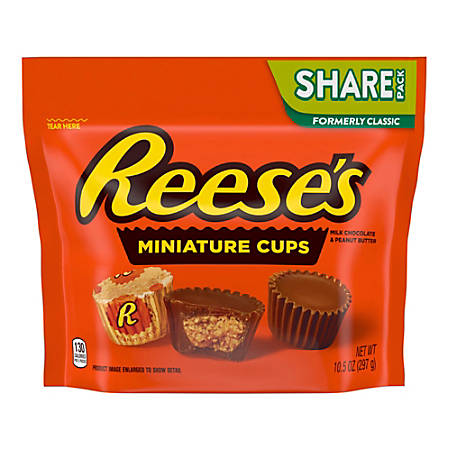 Reese's Miniature Milk Chocolate Peanut Butter Cups, 10.5 Oz Bag, Pack Of 3 Bags