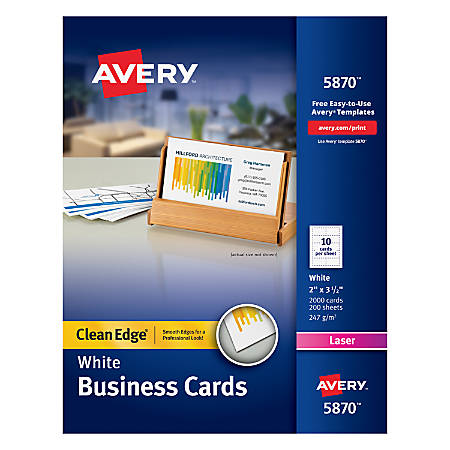 "Avery® Laser Clean Edge® Two-Side Printable Business Cards, 2"" x 3 1/2"", White, Pack Of 2,000"