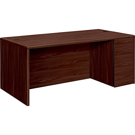 Hon 10700 U Shaped Workstation Single Pedestal Desk Pedestal On Right Mahogany Item 510951