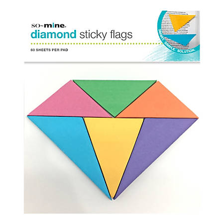 """So-Mine Diamond Sticky Flags, 7-1/2"""" x 6"""", Assorted Colors, 60 Sheets Per Pad"""