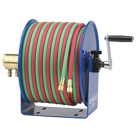 Coxreels® Twin-Line Welding Hose Reel, 100', Hand Crank, Hose Included