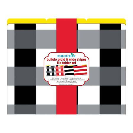 Barker Creek File Folders, Letter Size, Buffalo Plaid/Wide Stripes, Pack Of 12