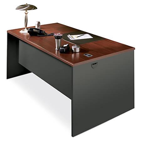 "HON® 38000 Modular 60""W Desk Shell, Mahogany/Charcoal"