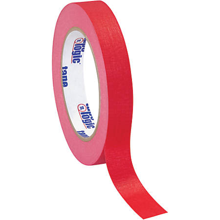 "Tape Logic® Color Masking Tape, 3"" Core, 0.75"" x 180', Red, Case Of 12"