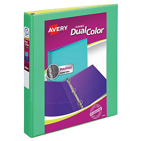 """Avery® Durable View Dual-Color Binder, 1"""" Rings, Assorted Colors"""